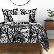 Tree Photographic Lace Black And White Black Sateen Duvet Cover By Roostery