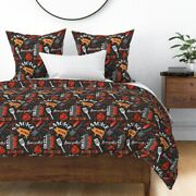 Barbecue On Black Cookout Bbq Food Pork Pig Grill Sateen Duvet Cover By Roostery