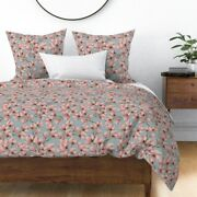 Blue And Pink Magnolia Branch Floral Nursery Sateen Duvet Cover By Roostery