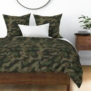 Splinter Camo Green + Camouflage Abstract Hunting Sateen Duvet Cover By Roostery