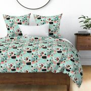 Mod An Coral Doodle Garden Curves Retro Abstract Sateen Duvet Cover By Roostery