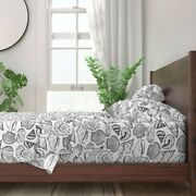 Sea Shells Black And White Beach 100 Cotton Sateen Sheet Set By Roostery