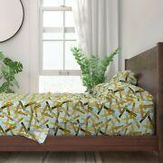 Clothes Pin Vintage Mod House Chores 100 Cotton Sateen Sheet Set By Roostery