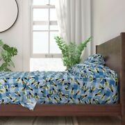 Picnic Blue Gingham Plaid Bees Bugs 100 Cotton Sateen Sheet Set By Roostery