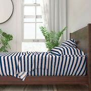 Peachy Beach Stripes Horizontal Lines 100 Cotton Sateen Sheet Set By Roostery