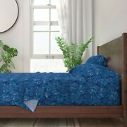 Blue Sea Shells Watercolor Beach Decor 100 Cotton Sateen Sheet Set By Roostery