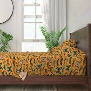 Moths Bugs Autumn Fall Color Leaves 100 Cotton Sateen Sheet Set By Roostery