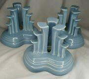 Lot 3 Fiestaware Candle Holder Pyramid Tripod Retired Periwinkle Blue Fiesta Hlc