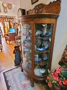 Antique Victorian Golden Oak Curved Glass China Closet Cabinet In Ct