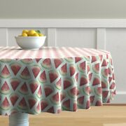 Round Tablecloth Picnic Summer July 4th Watermelon Gingham Ants Cotton Sateen