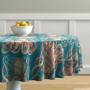Round Tablecloth Vintage Octopus Teal Ocean Life Victorian Cotton Sateen