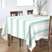 Tablecloth French Ticking Jade Turquoise Stripes Decor Cotton Sateen