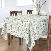 Tablecloth Vintage Retro Shabby Chic Rose Pink Floral Cotton Sateen
