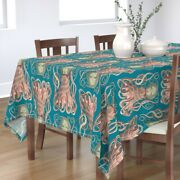 Tablecloth Vintage Octopus Teal Ocean Life Victorian Inspired Cotton Sateen