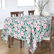 Tablecloth Pink Blue Floral Flower Vintage Turquoise Cotton Sateen