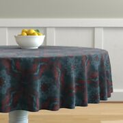 Round Tablecloth Vintage Detail Doodle Drawing Teal Navy Cotton Sateen