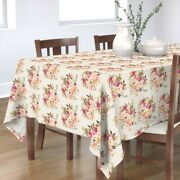 Tablecloth Boho Floral Pink Rose Vintage Flowers Watercolor Roses Cotton Sateen