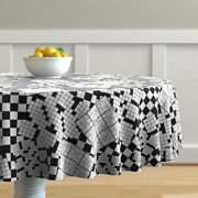 Round Tablecloth Puzzles Games Crossword Sudoku Black White Puzzle Cotton Sateen