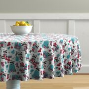 Round Tablecloth Wool Raccoons Read Socks Hygge Mugs Cereal Cotton Sateen
