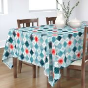 Tablecloth Kilim Boho Tribal Geometric Blue Red Abstract Turquoise Cotton Sateen
