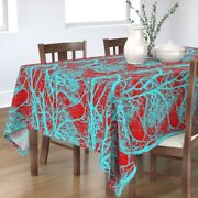 Tablecloth Tree Trees Branches Wood Red Cyan Turquoise Cotton Sateen