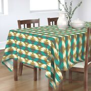 Tablecloth Native Turquoise Brown Cream Cotton Sateen