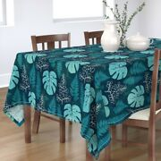 Tablecloth Jungle Bohemian Turquoise Blue Watercolor Leaves Cotton Sateen