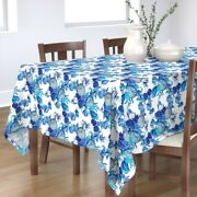 Tablecloth Blue And Purple Blooms Summer Floral Cyan Turquoise Cotton Sateen