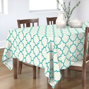 Tablecloth Geometric Turquoise Teal Ogee Quatrefoil Cotton Sateen