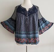 Plus Size Boho Gypsy Floral Lace Bell Sleeve Babydoll Shirt Blouse Tunic Top 2x