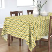 Tablecloth Art Deco Yellow Teal Geometric Vintage Inspired Retro Cotton Sateen