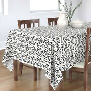 Tablecloth Modern Scandinavian Love Hearts Black And White Tossed Cotton Sateen
