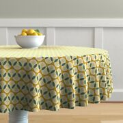 Round Tablecloth Art Deco Yellow Teal Geometric Vintage Inspired Cotton Sateen