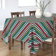 Tablecloth Christmas Scandinavian Holiday Decor Striped Red Pink Cotton Sateen