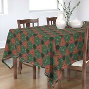 Tablecloth Scandinavian Rosemaling Holiday Medieval Patchwork Cotton Sateen