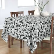 Tablecloth Christmas Woodland Scandinavian Black And White Cotton Sateen