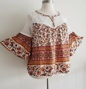 Plus Size Boho Gypsy Floral Lace Bell Sleeve Babydoll Shirt Blouse Tunic Top 1x
