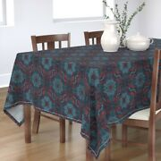Tablecloth Vintage Detail Doodle Drawing Teal Navy Cotton Sateen