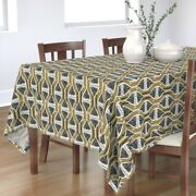 Tablecloth Holiday Christmas Xmas Ornaments Gold Winter Cotton Sateen