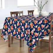 Tablecloth Vintage Retro Rose Floral Roses Scattered Old Fashioned Cotton Sateen