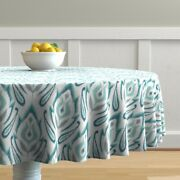 Round Tablecloth Damask Teal Modern And Ikat Blue Vintage Large Cotton Sateen