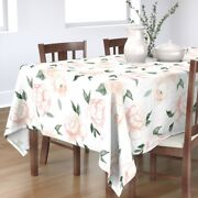 Tablecloth Vintage Floral Nursery Blush Green Rose Peony Flower Cotton Sateen