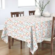 Tablecloth Floral Blush Vintage Nursery Peony Rose Peonies Roses Cotton Sateen