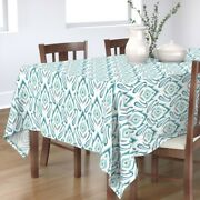 Tablecloth Damask Teal Modern And Ikat Blue Vintage Large Scale Cotton Sateen