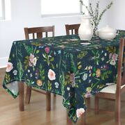 Tablecloth Floral Summer Daisy Navy Blue Flowers Rose Vintage Cotton Sateen