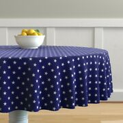 Round Tablecloth Patriotic Blue Stars And White American Flag July Cotton Sateen