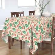 Tablecloth Christmas Holiday Winter Retro Ornaments Baubles Cotton Sateen