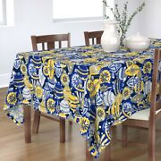 Tablecloth Winter Mod Holiday Christmas Ornaments Holidays Yellow Cotton Sateen