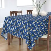 Tablecloth Retro Ornaments Mod Holiday Christmas Blue Yellow Holly Cotton Sateen