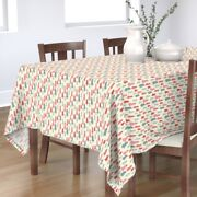 Tablecloth Christmas Holiday Bell Winter Pastel Ornaments Decor Cotton Sateen